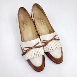 Salvatore Ferragamo vintage fringe bowed loafers